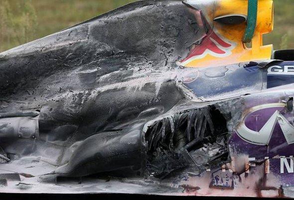 Webber's burnt Red Bull