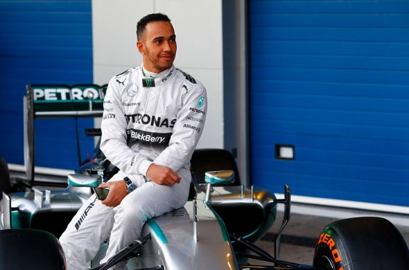 Hamilton had earlier been present at the launch of Mercedes's W05. Mercedes AMG Petronas