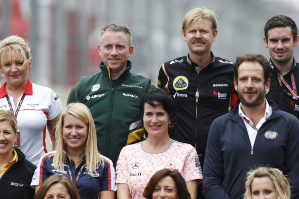 Tom Webb, in green, is Caterham's head of communications. Caterham F1 Team